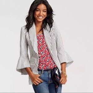 {CABI} 5295 Stripe Jacket Bell Sleeve Blazer